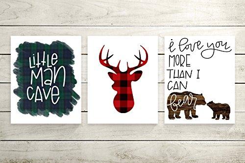 8×10″ Little Man Cave, Buffalo Plaid Deer Silhouette, I Love You More Than I Can Bear – Set of 3 Woodland Animal Nursery Cardstock Prints