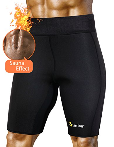 bfd453ba80e83 Junlan Men Body Shaper Yoga Sweat Shorts Hot Thermo Athletic Gym Sauna Suit  Neoprene Exercise Pants for Weight Loss Black