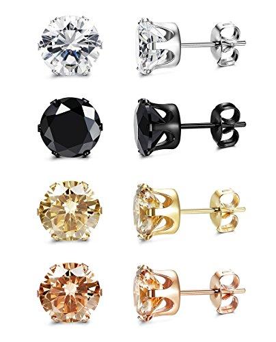 319ed94d6b90e ORAZIO 4 Pairs Stainless Steel Women Stud Earrings Mens Ear Piercing ...