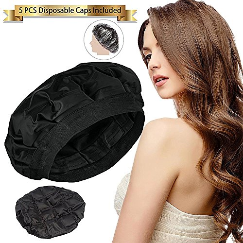 Hair Cap for Deep Heat Conditioning, SXG Steamer for Hair Treatment Heat Cap, Cordless Hair Therapy Wrap, Thermal Hair Cap Micro, Steam Caps for Oil Treatments, Heat Gel Cap – Black