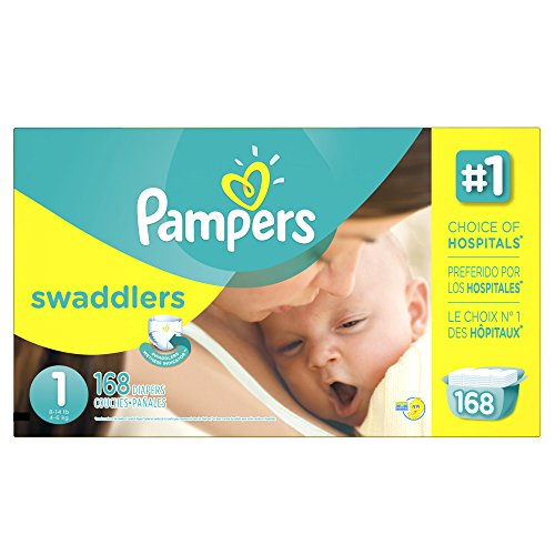 Pampers Swaddlers Disposable Diapers Newborn Size 1 8-14 lb, 168 Count, ECONOMY