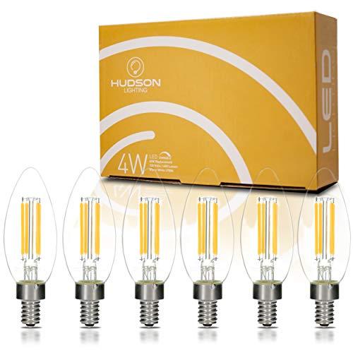 400 lumen warm white retro filament lightbulb set 6 pack dimmable led candelabra light bulbs. Black Bedroom Furniture Sets. Home Design Ideas