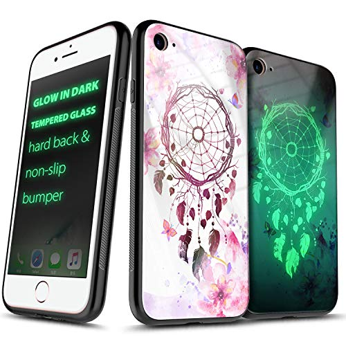 iPhone 8 Case, iPhone 7 / iPhone 6S / iPhone 6 Case 4.7 inch, NageBee Tempered Glass Hard Back Glow in Dark Anti-Scratch Shock Proof Ultra Slim Non-Slip Bumper Cover Cute Case -Dream Catcher