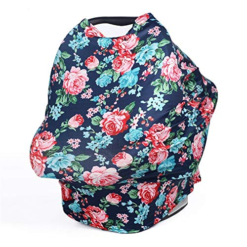 TUOKING Multi Colorful Patterned Nursing Cover Multi-Use Baby Car Seat Cover Flowers-Navy Blue