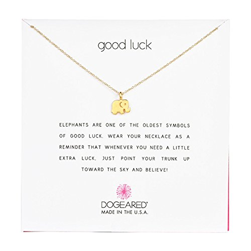 "Dogeared Reminder ""Good Luck"" Gold-Plated Sterling Silver Elephant Pendant Necklace, 16″"