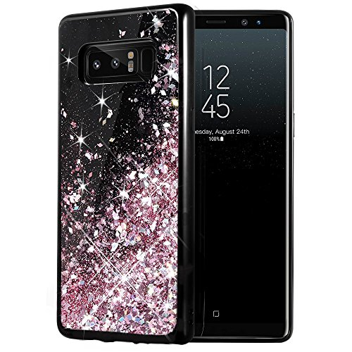Rose Gold – Galaxy Note 8 Case, Caka Galaxy Note 8 Glitter Case Starry Night Series Luxury Fashion Bling Flowing Liquid Floating Sparkle Glitter Girly TPU Bumper Case for Samsung Galaxy Note 8