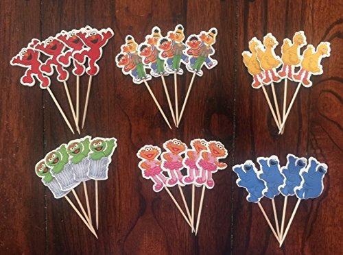 Sesame Street Elmo Cupcake Toppers Sesame Street Birthday Party Supplies set 24
