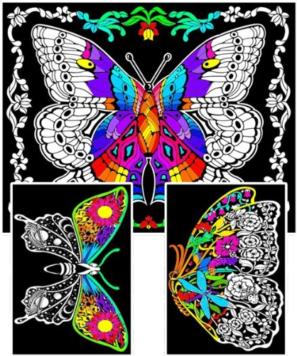 Fuzzy Coloring Posters 3-Pack with 1 Large + 2 Small Designs to Color – Stuff2Color Geo Butterfly