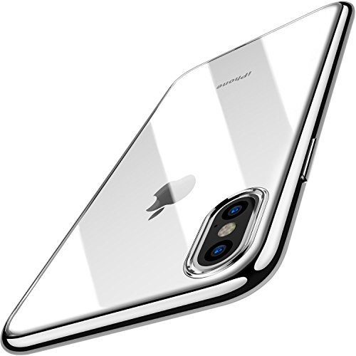 TOZO for iPhone X Case, Crystal Clear Soft TPU Gel Skin Ultra-Thin Slim Fit Transparent Flexible Premium Cover Wireless Charger Compatible for iPhone 10 / X Space Silver Plating Edge