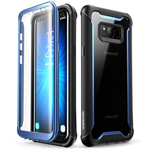 Samsung Galaxy S8+ Plus case, i-Blason Full-Body Rugged Clear Bumper Case with Built-in Screen Protector for Samsung Galaxy S8+ Plus 2017 Release Black/Blue