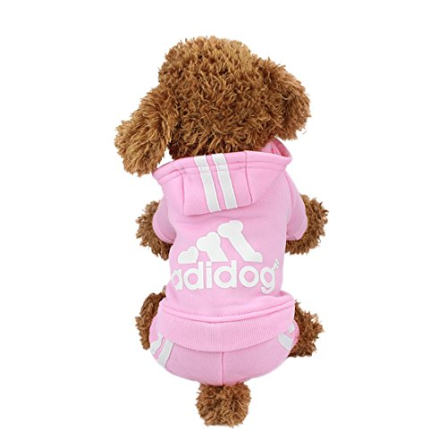 IdepetTM Adidog Pet Dog Cat Clothes 4 Legs Cotton Puppy Hoodies Coat Sweater Costumes Dog Jacket XS, Pink