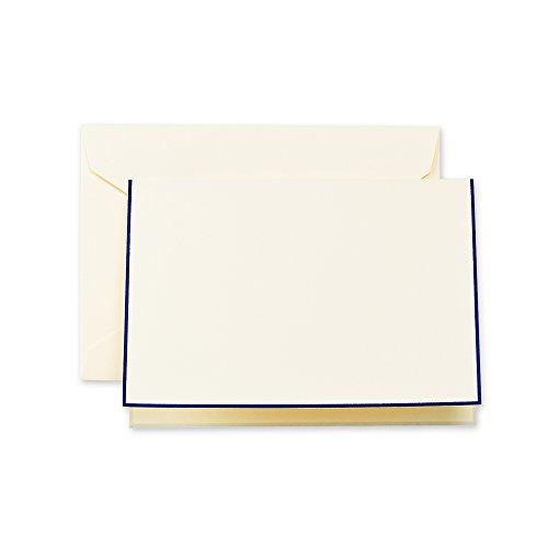 Crane & Co. Regent Blue Bordered Ecruwhite Note CF1438, Pack of 10