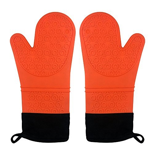 XQQ Silicone Oven Mitts for Cooking, Baking & BBQ, Heat-Resistant Pot Holder, Long Glove With Cotton Lining, 1 Pair  Set of 2 Orange Color