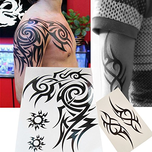Kotbs 2 Sheets Waterproof Large Temporary Tattoos Men Tribal Totem Tattoo Sticker Make up Body Art Fake Tattoo