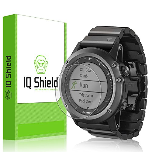 with – Garmin Fenix 3 Screen Protector, IQ Shield LiQuidSkin 6-Pack Full Coverage Screen Protector for Garmin Fenix 3 HD Clear Anti-Bubble Film
