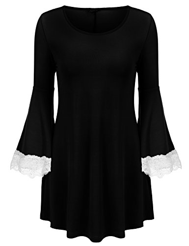 Zeagoo Women's 3/4 Sleeves Blouse Top Shirts Bat Wing Slim Lace Polyester Bell Tunic Tops