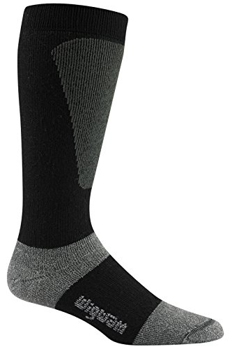 Wigwam Men's Snow Sirocco Knee High Performance Ski Sock,Black,Sock size : Large  shoe Size : Men's 9-12 , Women's 10-13