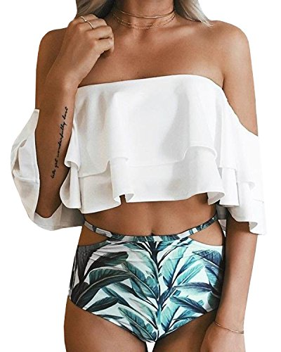 Dellytop Womens Swimsuits High Waist Off The Shoulder Layer Ruffle Flounce Sexy Bikini Bathing Suits