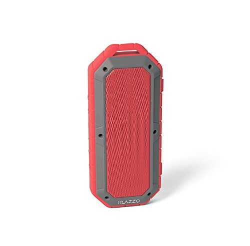 Red – KLAZZO Beach Bomb IP66 Waterproof Shockproof Portable Bluetooth Speaker with Built in Mic Aux-in and 2,000mAh Battery