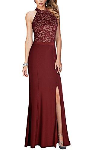 REPHYLLIS Women's Halter Floral Lace Vintage Wedding Maxi Long Dress