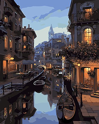 DIY Painting by Numbers for Adults, Paint by Number Kits Drawing with Brushes Paint Suitable for All Skill Levels 40x50cm – Venice Night Frameless