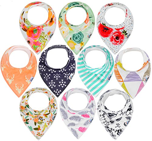 Baby Shower Gift Set by Ana Baby – 10-Pack Baby Bandana Drool Bibs for Drooling and Teething, 100% Organic Cotton, Soft and Absorbent, Hypoallergenic Bibs for Baby Girls