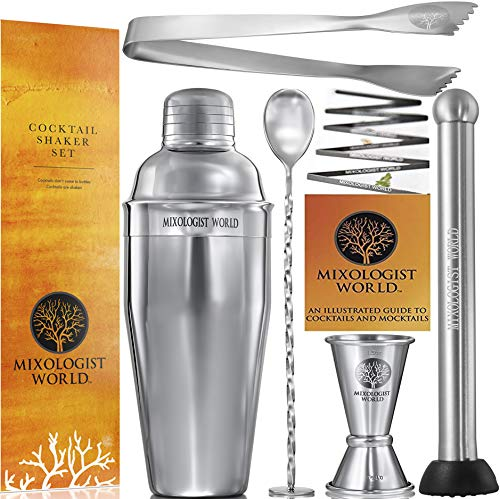 Premium Cocktail Shaker Bartender Kit -24 Ounces Bar Set Built-in Strainer With Muddler, Mixing Spoon, Measuring Jigger and Ice Tong Plus Cocktail Recipes – Bar Tools for Martini Drink Mixer Barware