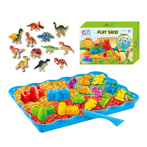 Gift for Boys and Girls Age 3 -12 Years Old – ToyVelt Dinosaur Kinetic Play Sand Toys, and Dinosaur Figures Set – Set Incl 14 Molds and 3 Bags of Sand Extra 12 Dinosaur Toys