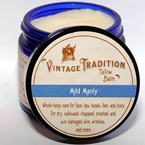 "Vintage Tradition Mild Manly Tallow Balm, 100% Grass-Fed, 2 Fl Oz""The Whole Food of Skin Care"""