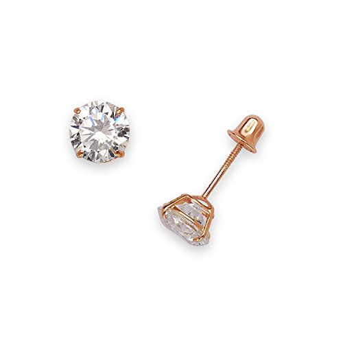 Jewelryweb Solid 14k Rose Gold Solitaire Round Cubic Zirconia Stud Screw-back Basket Earrings 4mm-6mm