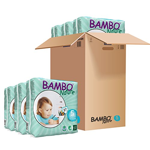Bambo Nature Eco Friendly Baby Diapers Classic for Sensitive Skin, Size 5 26-49 lbs, 162 Count 6 Packs of 27