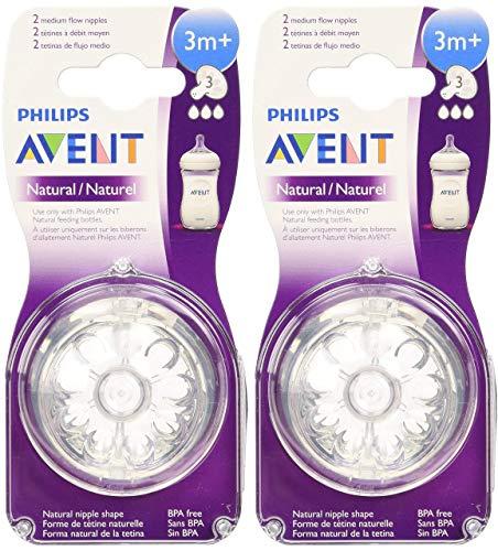 Philips Avent Natural Nipple Medium Flow – 4 Pack