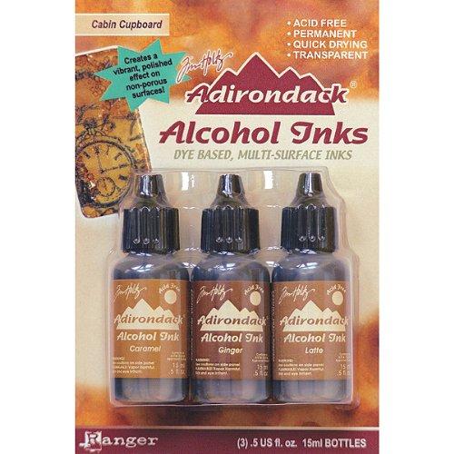 Adirondack Earthtones Alcohol Ink 5 Ounces 3 Pkg Cabin Cupboard Caramel Ginger Latte Colors