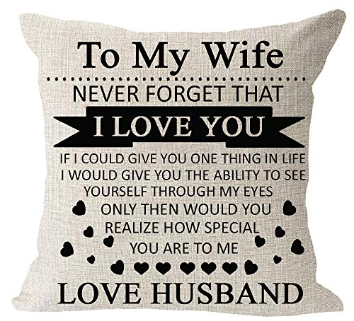 Anniversary Birthday to My Wife I Love You You are Special to Me Love Husband Cotton Linen Square Throw Waist Pillow Case Decorative Cushion Cover Pillowcase Sofa 18″x 18″